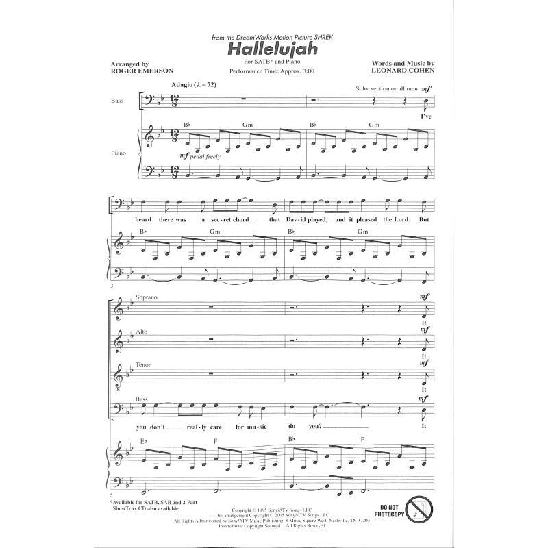 Piano hallelujah shrek piano sheet music : HALLELUJAH (SHREK) - von Cohen Leonard - HL 8201762 - Noten