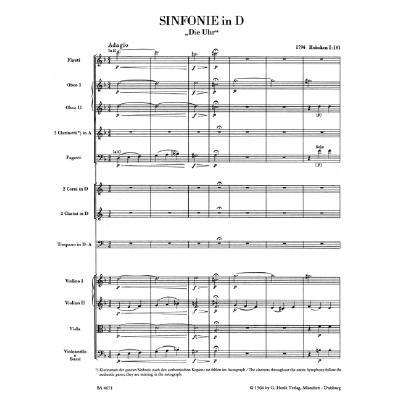 Sinfonie 101 D-Dur Hob 1/101 (die Uhr)