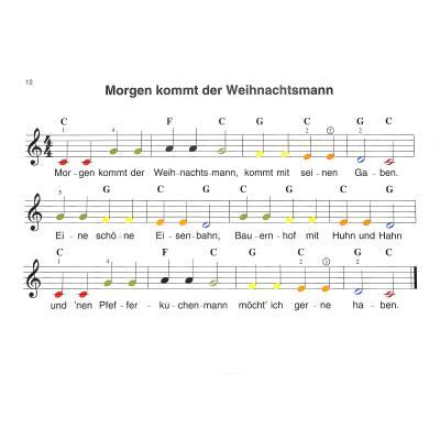Glockenspiel Weihnachtslieder Noten Kostenlos.Meine Weihnachtslieder Farbige Noten Notenbuch De