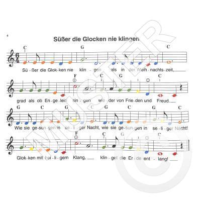 Weihnachtslieder Noten Für Glockenspiel.Meine Weihnachtslieder Farbige Noten Notenbuch De