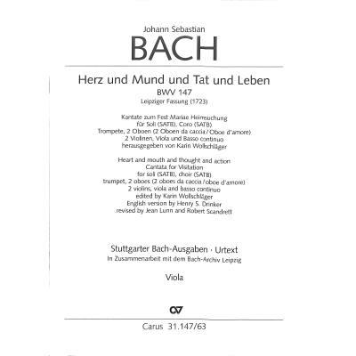 KANTATE 147 HERZ UND MUND UND TAT UND LEBEN BWV 147