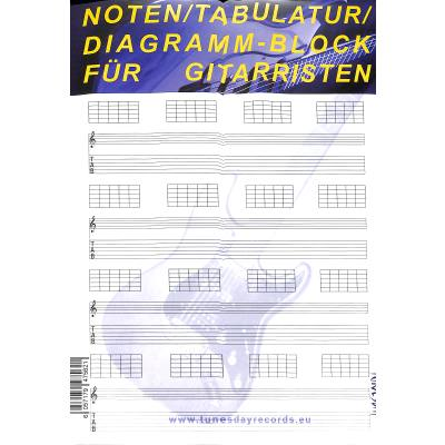 Notenblock 100 Blatt Diagramm Notenblock mit Tabulatur für Gitarre