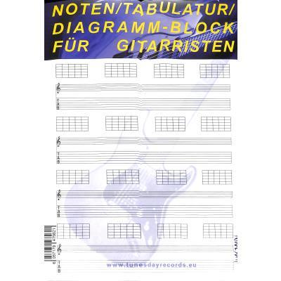 Notenblock 100 Blatt Diagramm Notenblock mit Tabulatur für Gitarre ...
