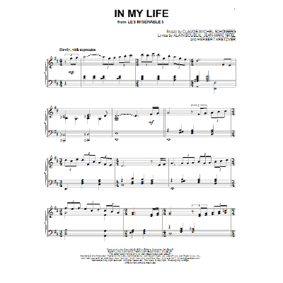 In My Life Les Miserables Musical - Notenbuch de