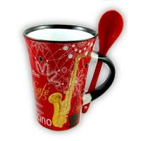 Cappuccino Tasse Saxophon mit Löffel