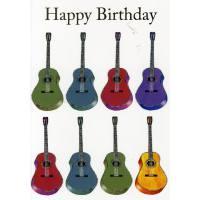 Doppelkarte Happy Birthday mit Gitarren
