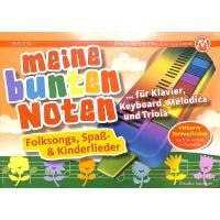 Meine bunten Noten für Klavier Keyboard Melodica + Triola | Folksongs Spass + Kinderlieder