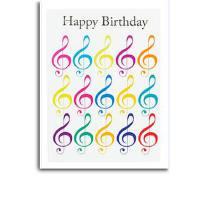 Doppelkarte Happy Birthday | Doppelkarte Violinschlüssel
