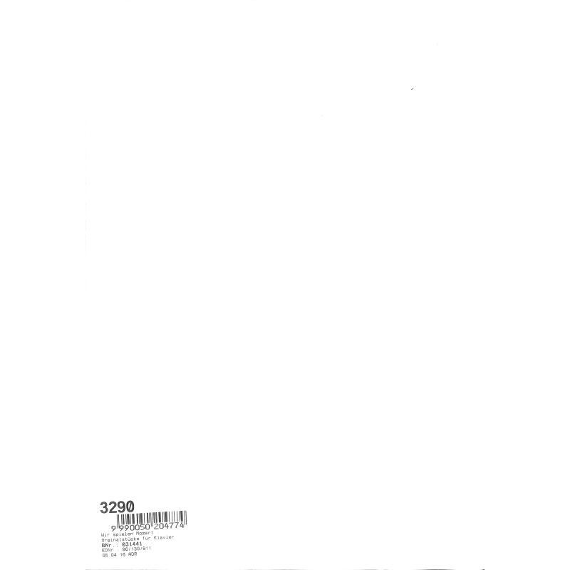 Notenbild für BB 13 - WIR SPIELEN MOZART