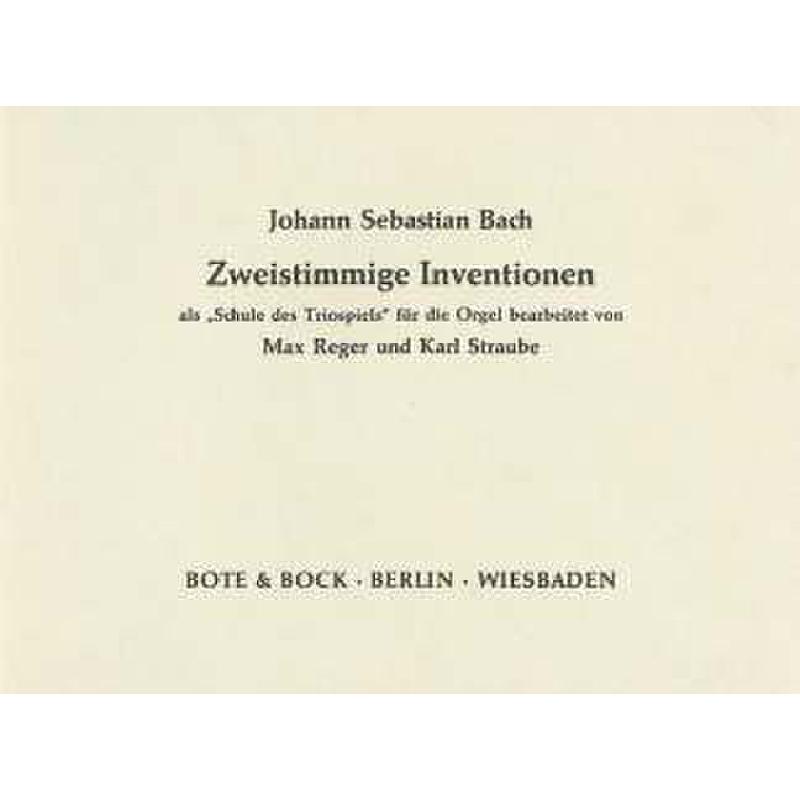 Titelbild für BOTE 0452 - ZWEISTIMMIGE INVENTIONEN BWV 772-786