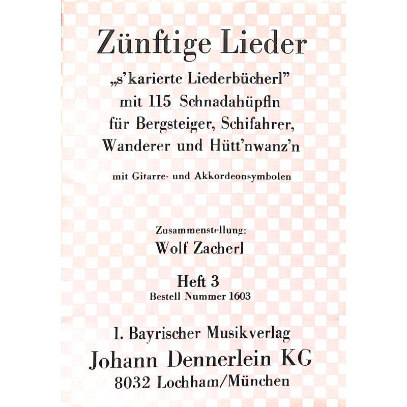 Titelbild für DENN 1603 - ZUENFTIGE LIEDER 3