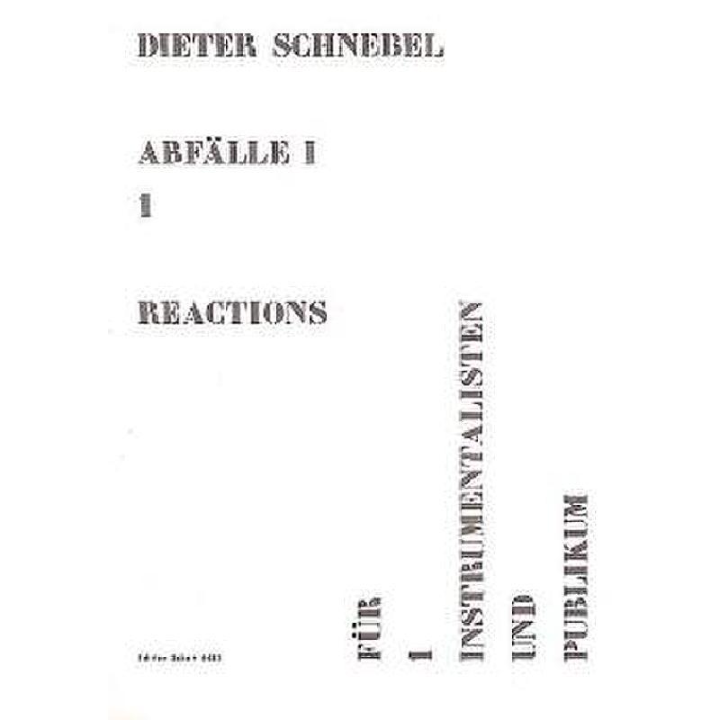 Titelbild für ED 6483 - ABFAELLE I/1 REACTIONS
