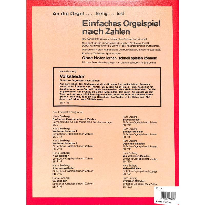 Notenbild für ED 7116 - VOLKSLIEDER (EINFACHES ORGELSPIEL NACH