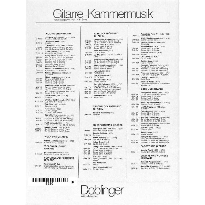 Notenbild für GKM 54 - PARTITA G-DUR