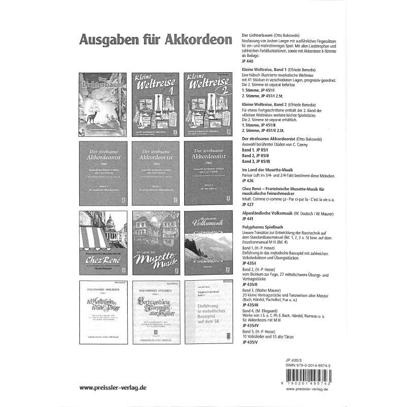 Notenbild für JP 435-3 - VORTRAGSSTUECKE UND TANZWEISEN ALTER WEISEN