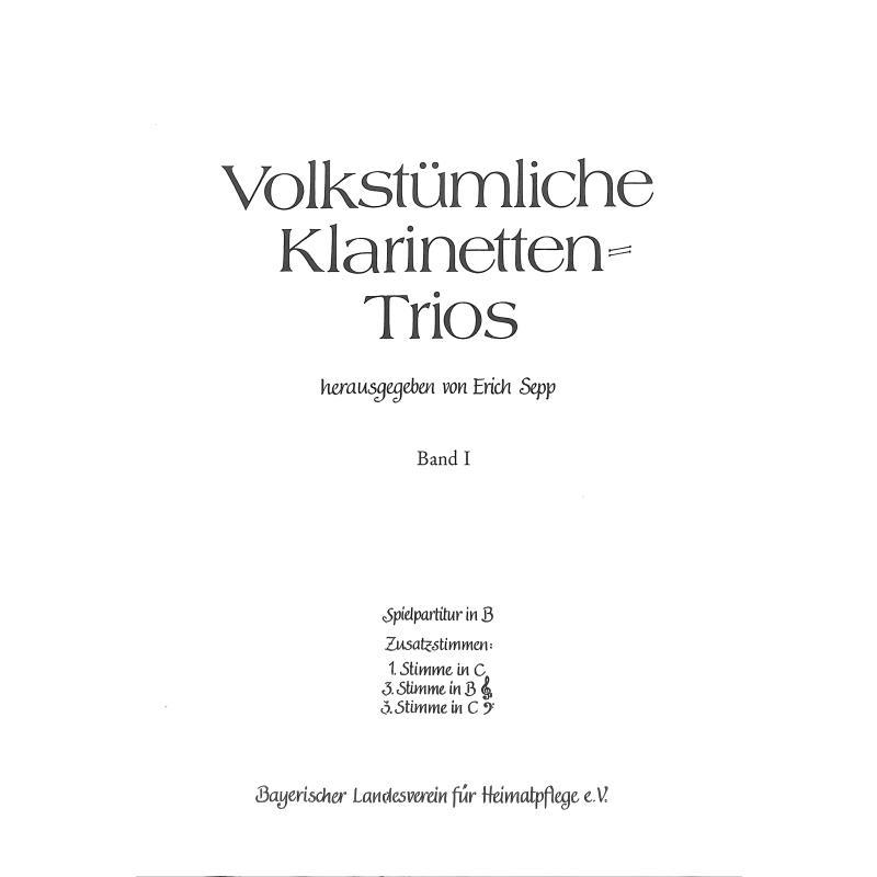 Titelbild für LV -B3 - VOLKSTUEMLICHE KLARINETTENTRIOS BD 1
