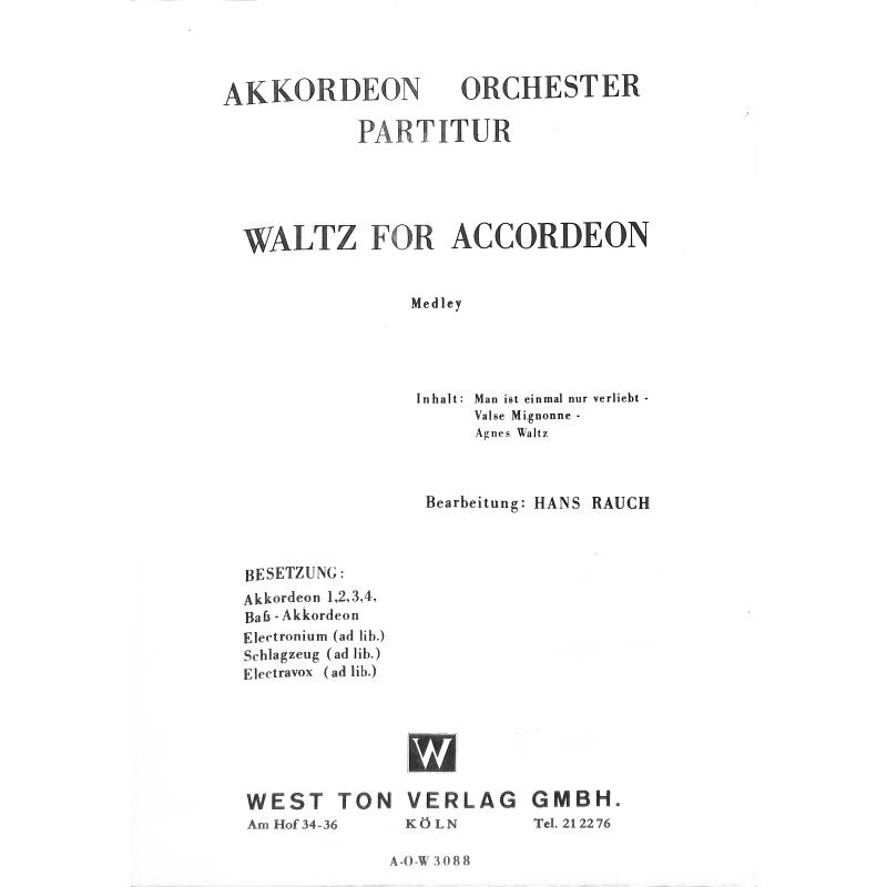 Titelbild für MDW 3003086-28-30 - WALZER FOR ACCORDEON (POTPOURRI)