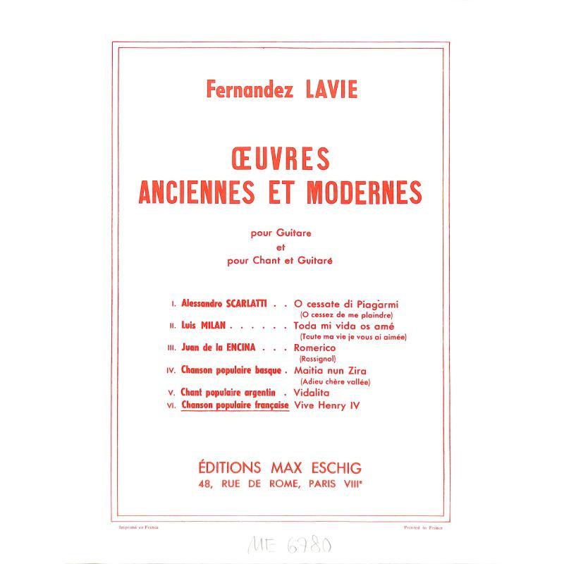 Titelbild für ME 6780 - VIVE HENRI 4 (AIR CHERI DE FRANCAIS AVEC 8 VARIATIONS)