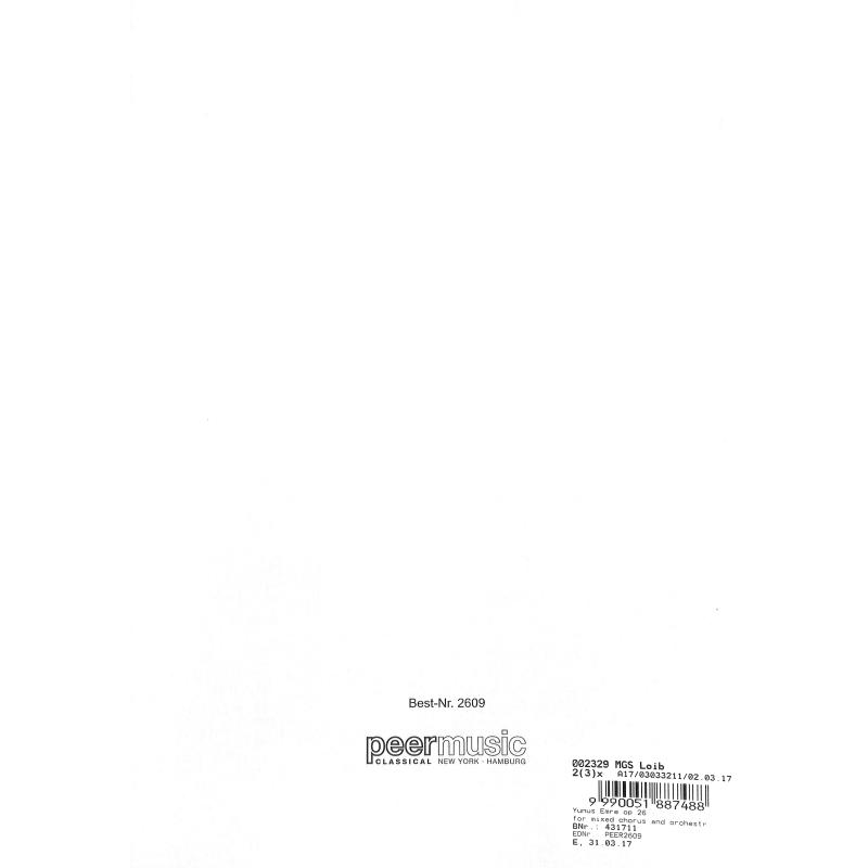Notenbild für PEER 2609 - YUNUS EMRE