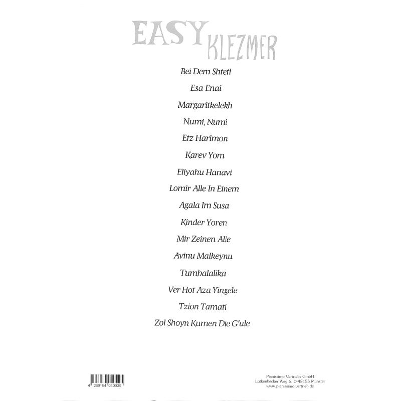 Notenbild für PIANISSIMO -PV1003 - EASY KLEZMER