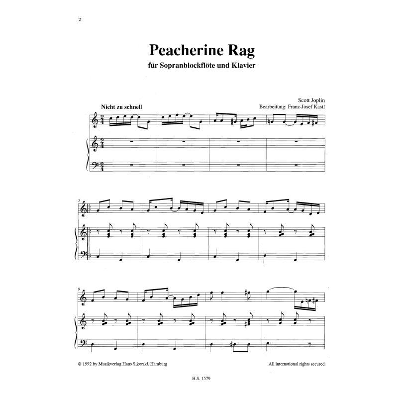 Notenbild für SIK 1579 - PEACHERINE RAG / SUNFLOWER SLOW DRAG .