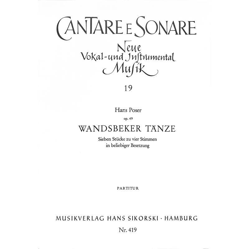 Titelbild für SIK 419-P - WANDSBEKER TAENZE OP 49