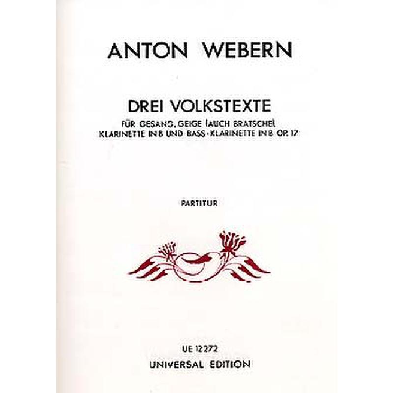 Titelbild für UE 12272 - 3 VOLKSTEXTE OP 17