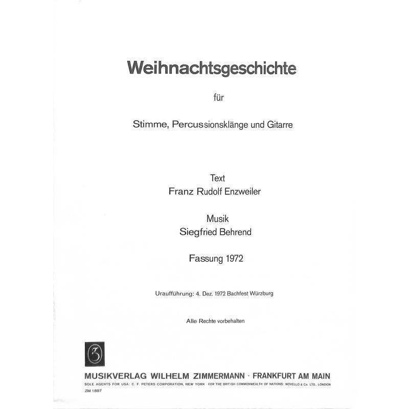 Titelbild für ZM 18970 - WEIHNACHTSGESCHICHTE