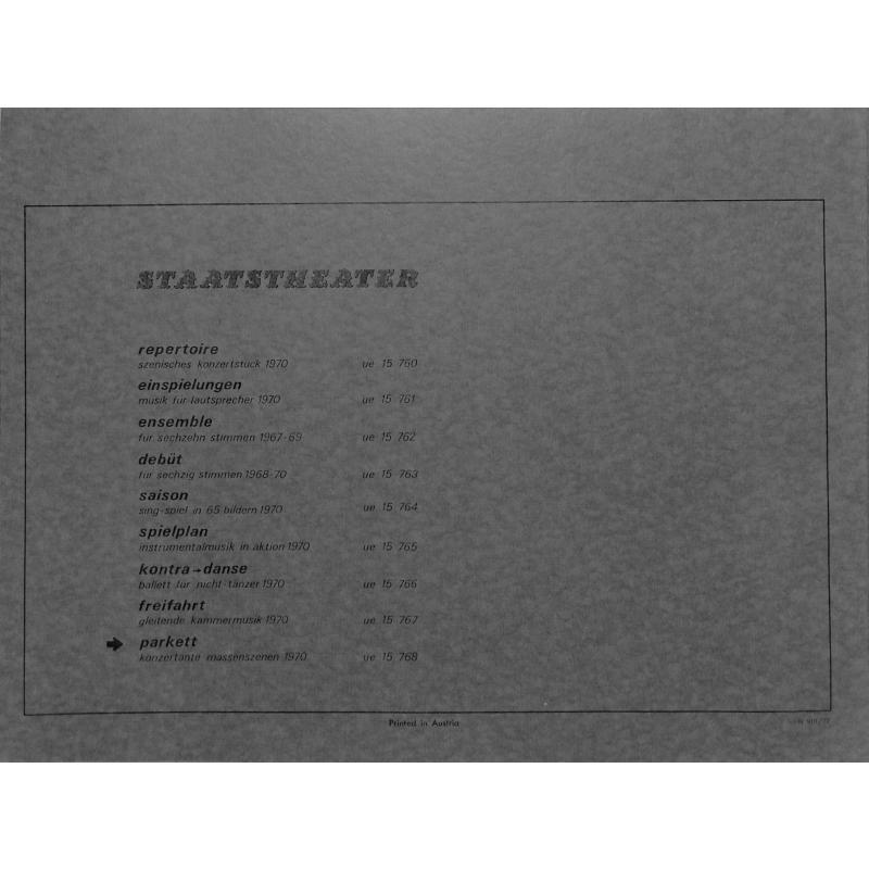 Notenbild für UE 15768 - PARKETT - KONZERTANTE MASSENSZENEN (1970)