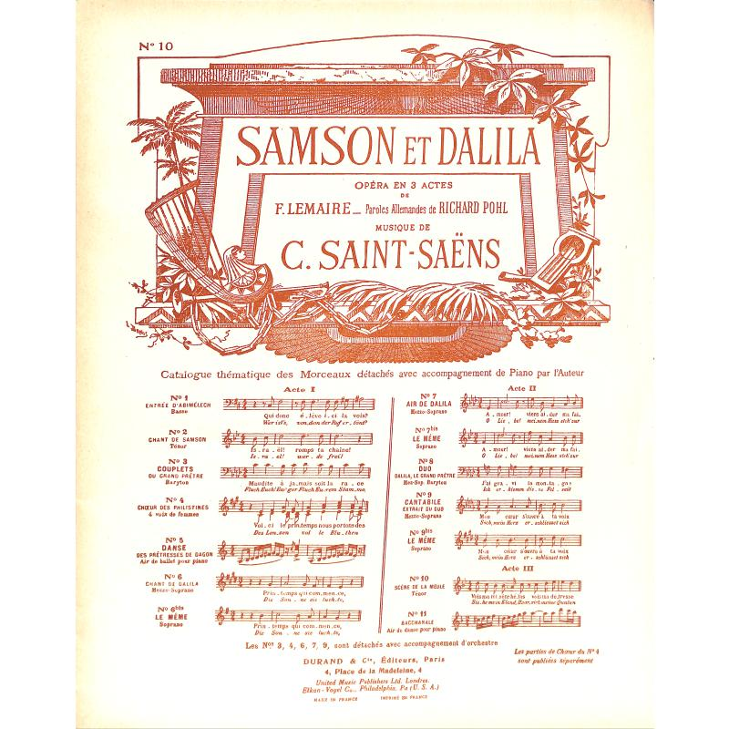 Titelbild für DUR 2346-10 - VOIS MA MISERE HELAS (SAMSON + DALILA)