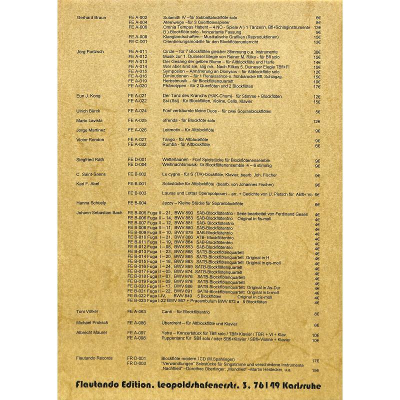 Notenbild für FE -A100 - ZWEISTIMMIG - KLEINE STDIE NR 9