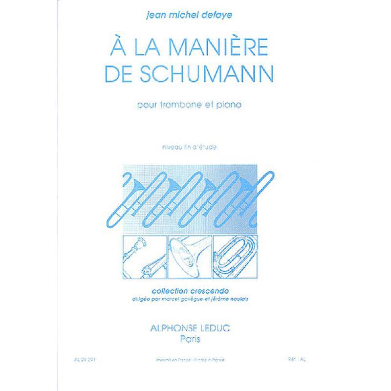 Titelbild für AL 29291 - A LA MANIERE DE SCHUMANN
