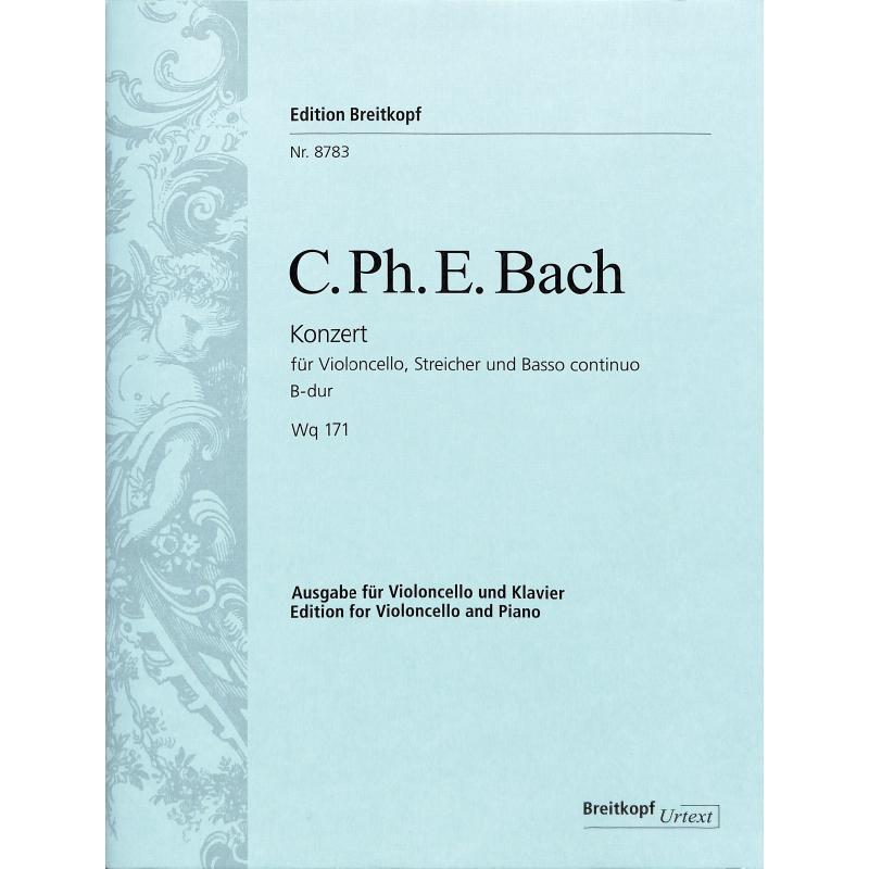 Titelbild für EB 8783 - KONZERT B-DUR WQ 171 - VC STR BC