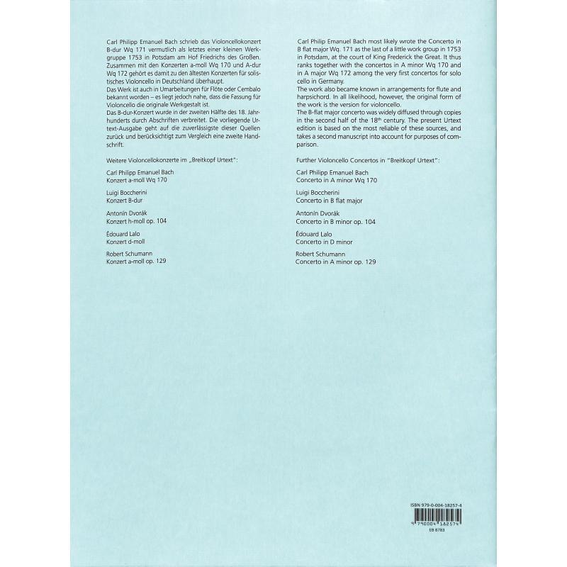 Notenbild für EB 8783 - KONZERT B-DUR WQ 171 - VC STR BC