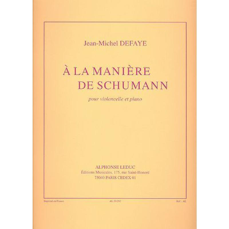 Titelbild für AL 29292 - A LA MANIERE DE SCHUMANN