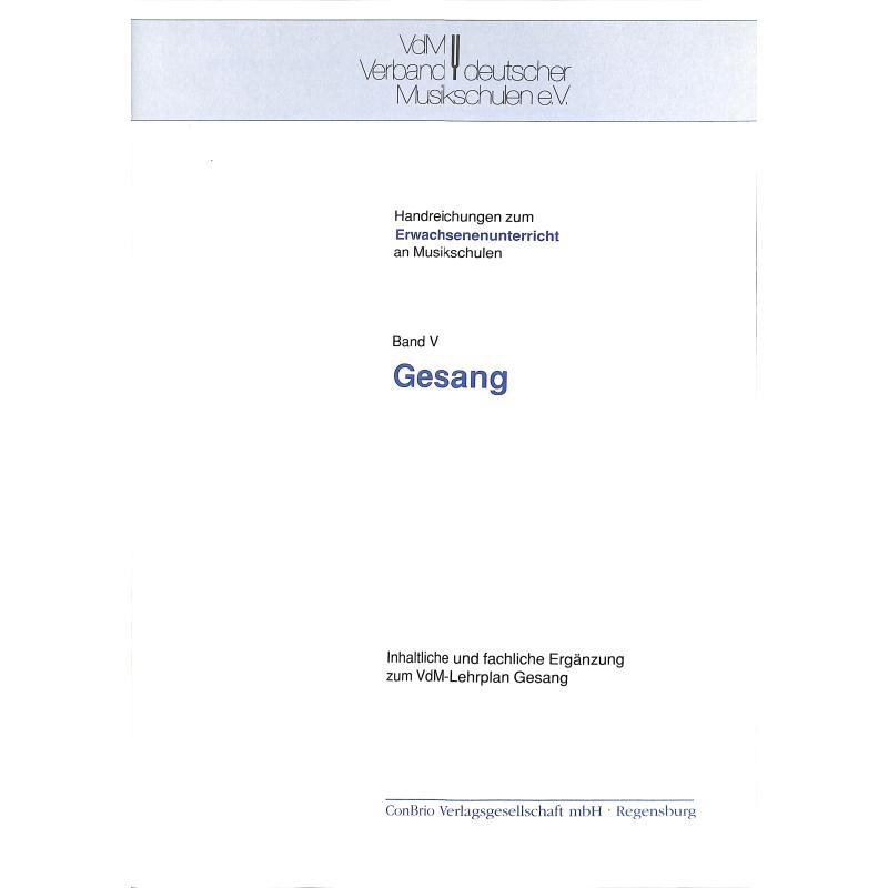 Titelbild für CONBRIO 0104 - HANDREICHUNGEN 5 ZUM ERWACHSENENUNTERRICHT