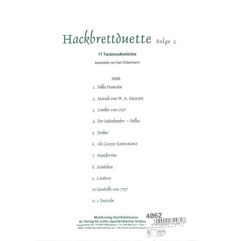 Notenbild für EDELMANN 5159 - HACKBRETTDUETTE 2 - 11 TANZMUSIKSTUECKE