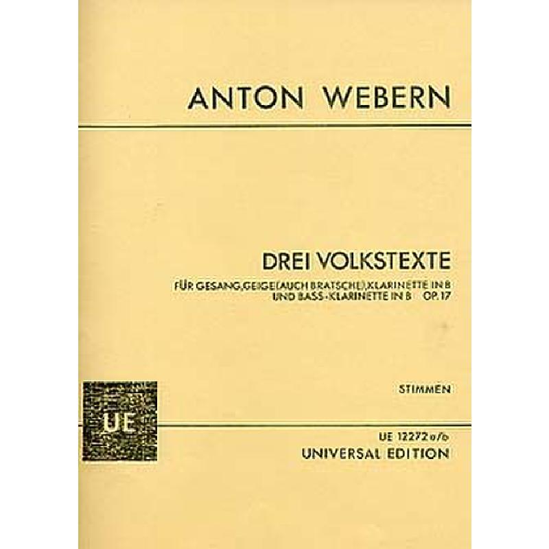 Titelbild für UE 12272-70 - 3 VOLKSTEXTE OP 17