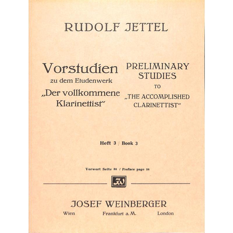 Titelbild für WEINB 190-10 - VORSTUDIEN 3 DER VOLLKOMMENE KLARINETTIST