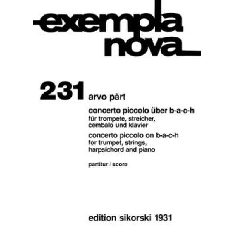 Titelbild für SIK 1931 - CONCERTO PICCOLO UEBER B A C H