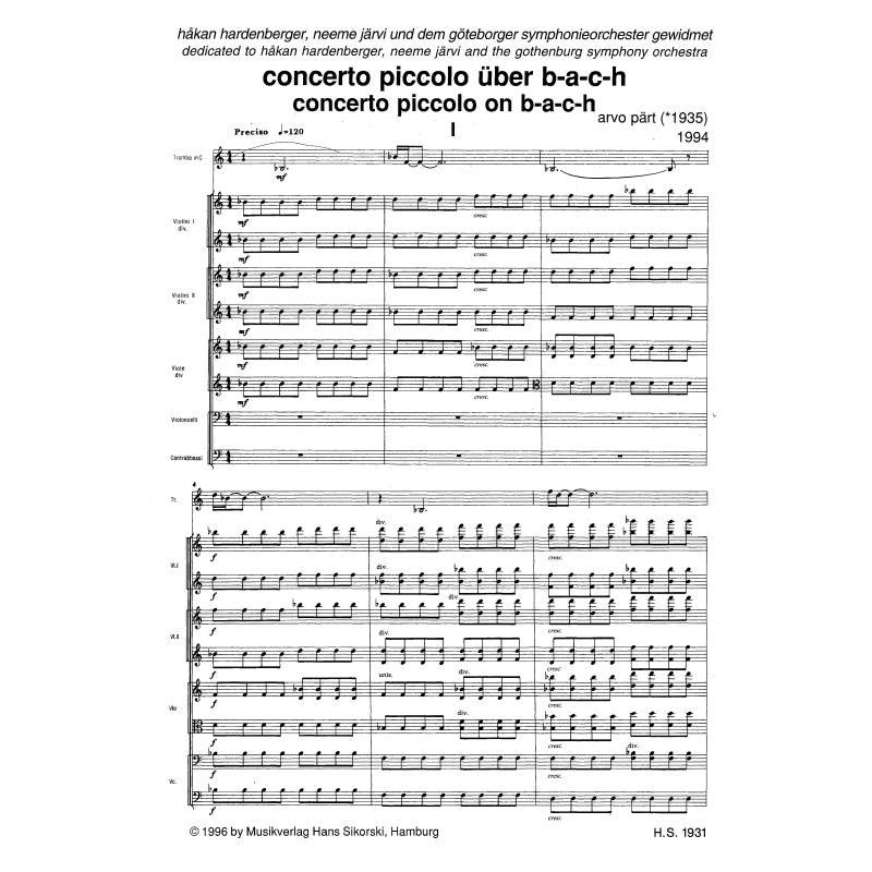 Notenbild für SIK 1931 - CONCERTO PICCOLO UEBER B A C H