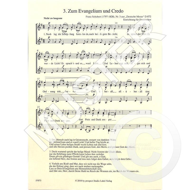 Titelbild für PROSPECT 57073 - ZUM EVANGELIUM UND CREDO D 872/3 AUS DEUTSCHE MESSE