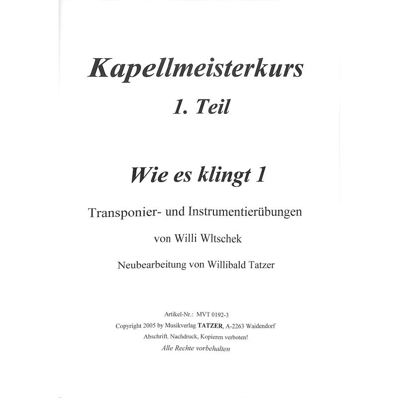 Titelbild für REISCHL 105-1 - WIE ES KLINGT 1 - TRANSPONIER UND INSTRUMENTIERUEBUNGEN