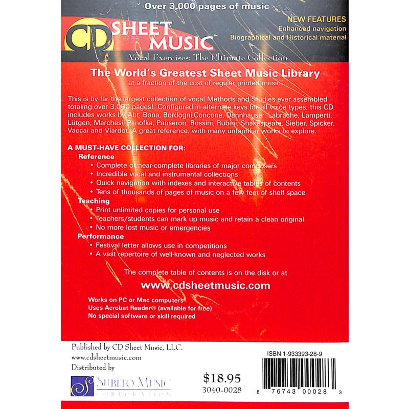 Notenbild für SUBITO 3040-0028 - VOCAL EXERCISES - THE ULTIMATE COLLECTION