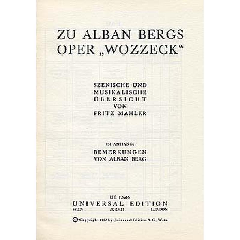 Titelbild für UE 12655 - ZU ALBAN BERGS OPER WOZZECK