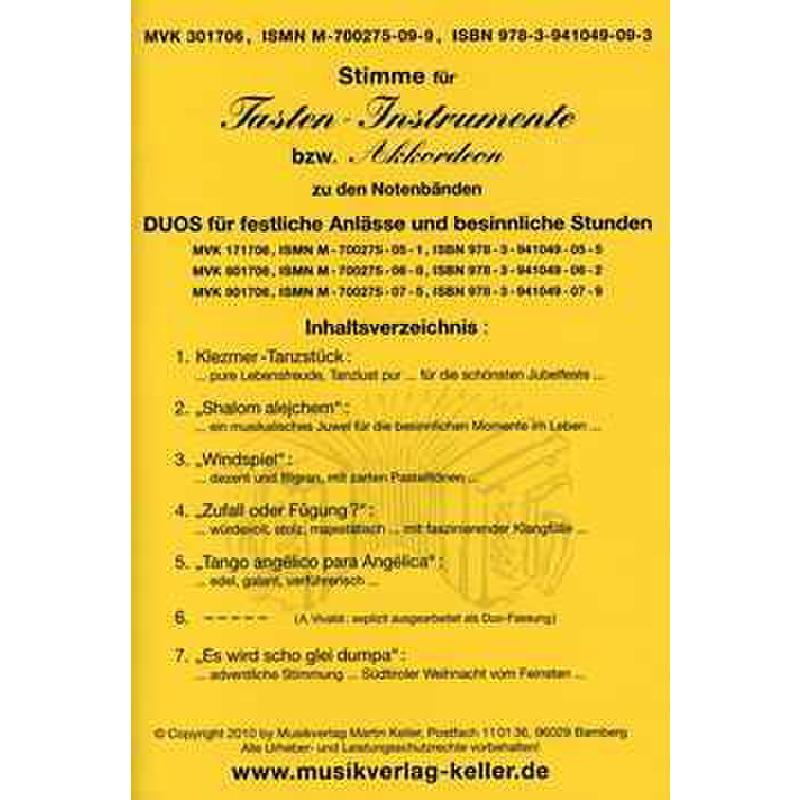 Titelbild für MVK 301706 - VIOLA + VIOLINE - DUOS FUER FESTLICHE ANLAESSE + BESINNLICHE STUN