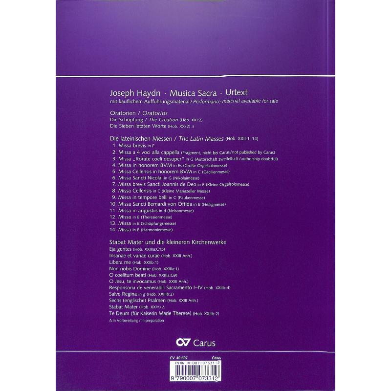 Produktinformationen zu MISSA IN TEMPORE BELLI HOB 22/9 (PAUKENMESSE) CARUS 40607-00