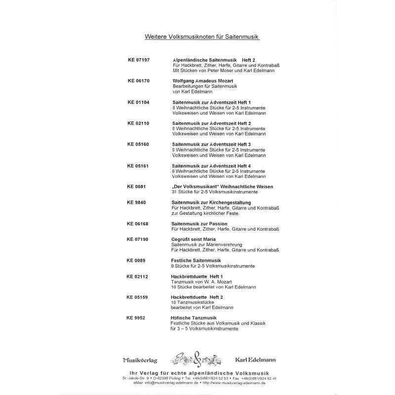 Notenbild für EDELMANN 9841 - ALPENLAENDISCHE SAITENMUSIK 1