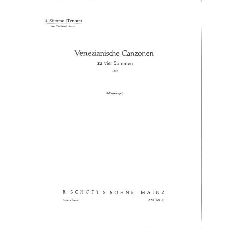 Titelbild für ANT 120-13 - VENEZIANISCHE CANZONEN