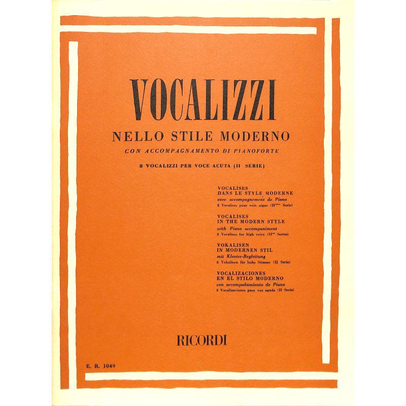 Titelbild für ER 1049 - VOCALIZZI NELLO STILE MODERNO,2. SERIE VOL.1